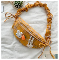 RABBIT CARROT PLAID BAG