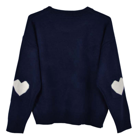 NAVY HEART SLEEVE KNITTED
