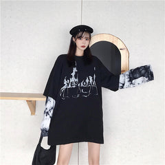 RETRO TIE-DYE STITCHING FAKE TWO PIECE LONG SLEEVE T-SHIRT