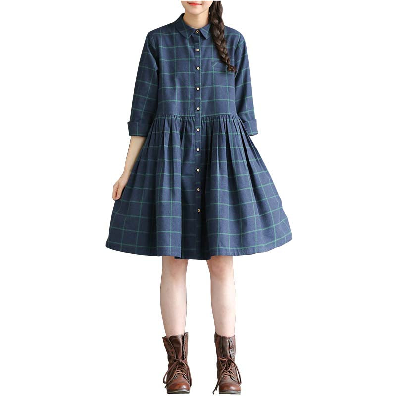 BLUE CHECKERED BUTTON UP DRESS
