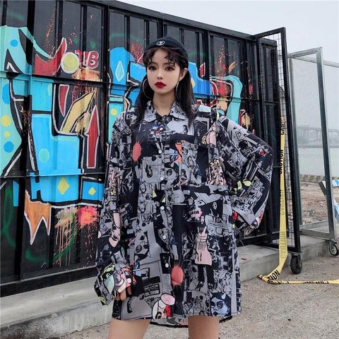 STREET HIP HOP COMIC PRINT LONG SLEEVE SHIRT