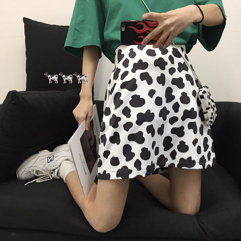 COW SPOTTED PRINT SKIRT