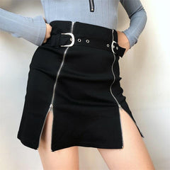 SPLIT ZIPPER METAL SKIRT