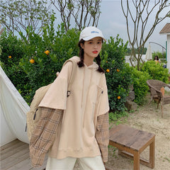 PLAID STITCHING FAKE TWO PIECE HOODED SWEATSHIRT