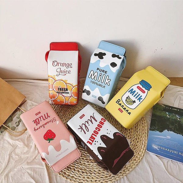 Fruit Milk Print Pu Bag by Dog Dog