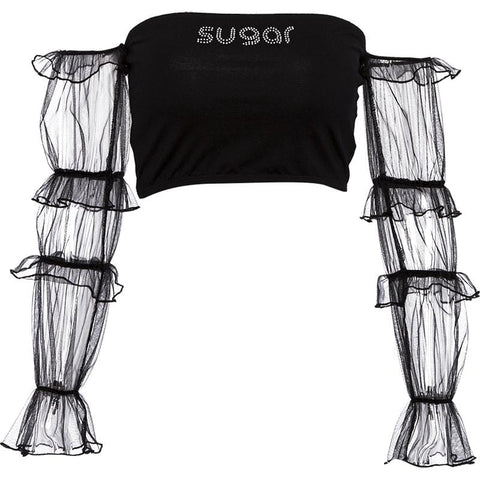 SUGAR OFF-SHOULDER CROP TOP
