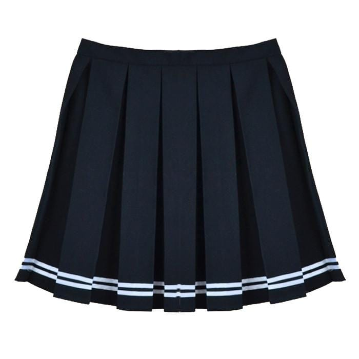 BLACK STRIPED TENNIS SKIRT