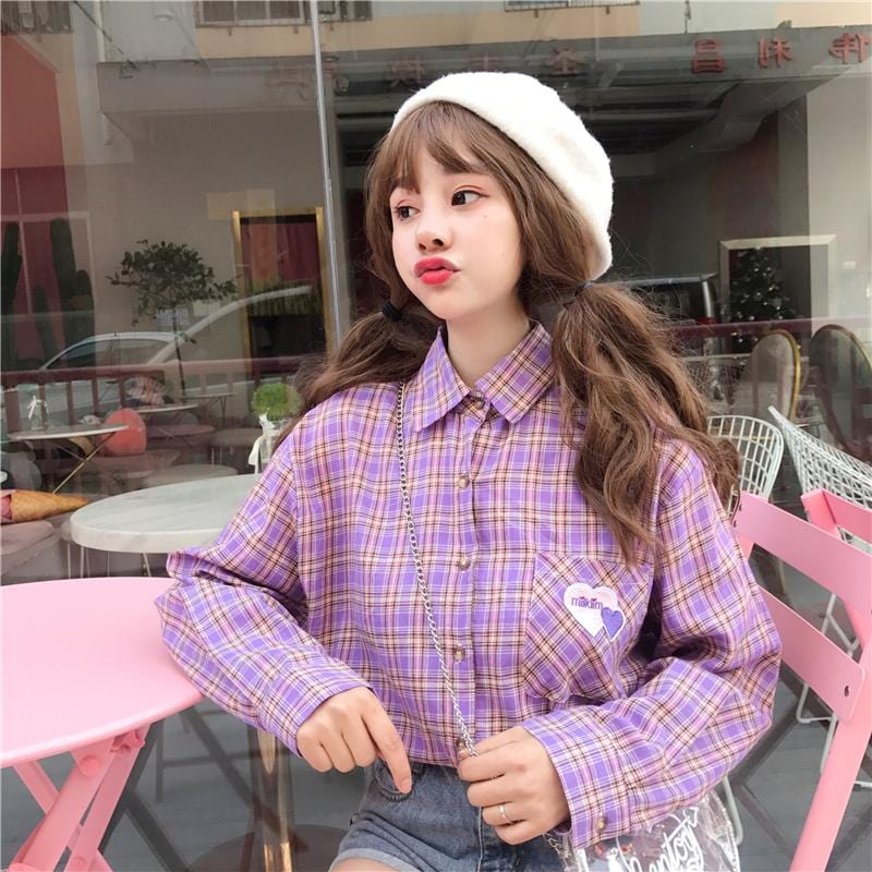 HEART ON POCKET PLAID SHIRT