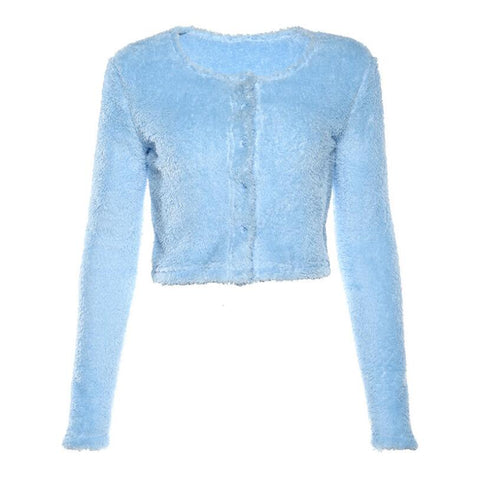 BLUE VELVET LONG SLEEVE CARDIGAN