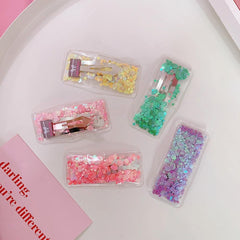 JELLY TRANSPARENT SEQUINS HAIR CLIP (5PCS)