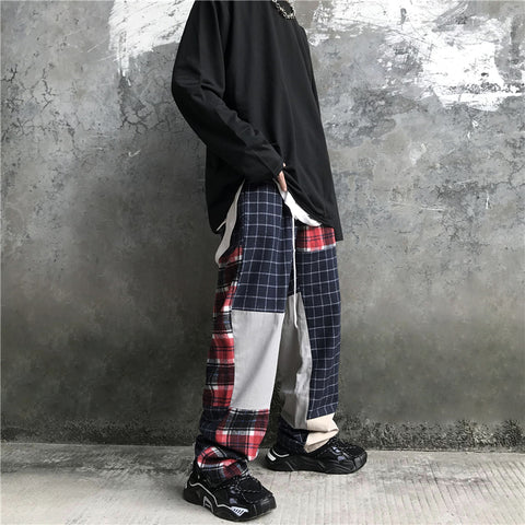 PLAID PANEL STRAIGHT CUT PANTS