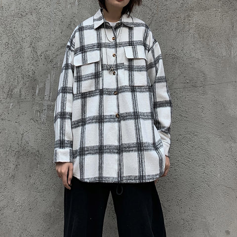 HARAJUKU LOOSE PLAID LONG SLEEVE SHIRT