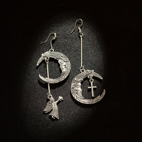 VINTAGE MOON CUPID CROSS EARRINGS