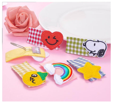 PLAID EMBROIDERY HAIR CLIP (6PCS)