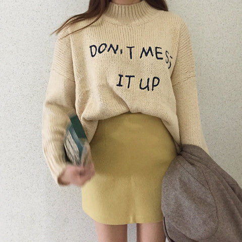 DONT MESS IT UP KNITTED