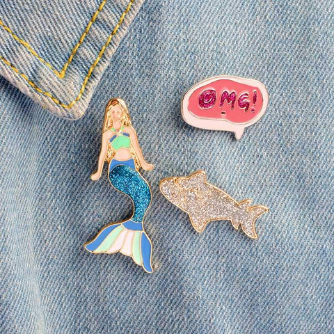 OMG A MERMAID! PINS (SET/3PCS)