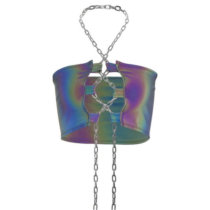 CHAIN REFLECTIVE CROP TOP