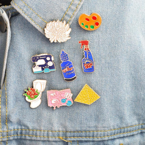 PYRAMID DRAWING FLOWER TOILET PINS (SET/8PCS)