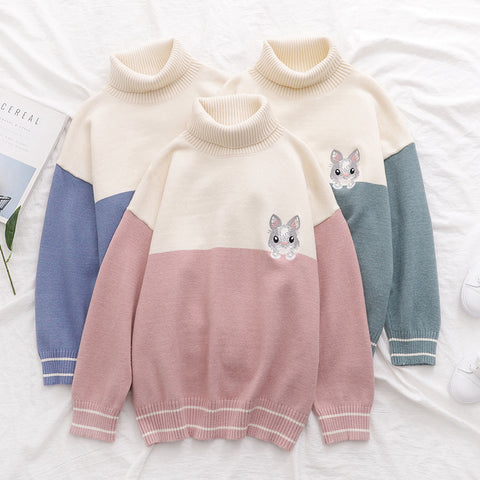 RABBIT EMBROIDERED TURTLENECK COLORBLOCK KNIT SWEATER