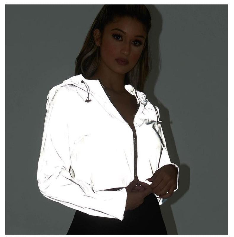 REFLECTIVE HOODED CROPPED SWEATER