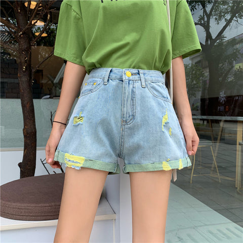 FASHION WASHED COLOR DENIM SHORTS