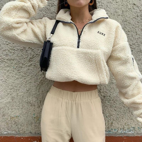 SURE EMBROIDERY BIG POCKET SWEATER