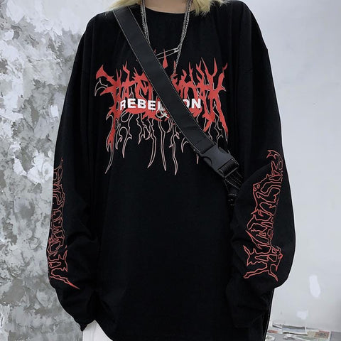 REBELLION PRINT LONG SLEEVE  T-SHIRT