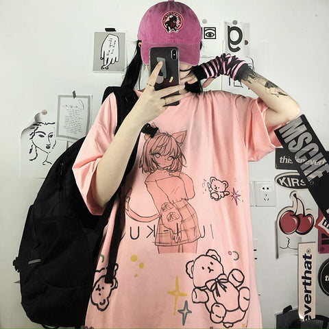 CAT GIRL PRINT LOOSE TEE