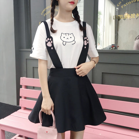 CAT'S PAW PRINTING T-SHIRT+BRACES SKIRT