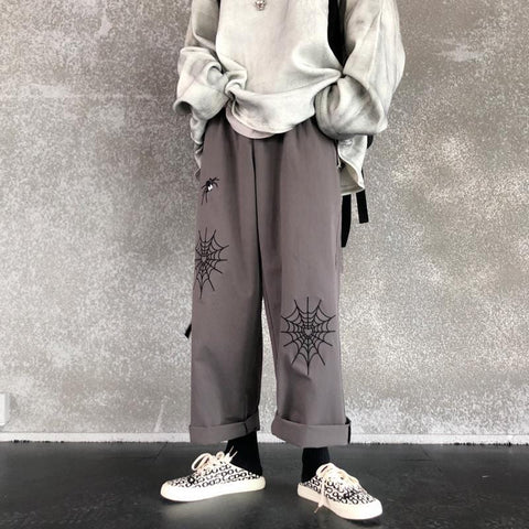 SPIDER EMBROIDERY LOOSE PANTS