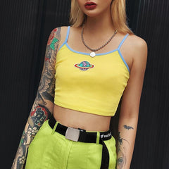 PLANET EMBROIDERY CROP VEST