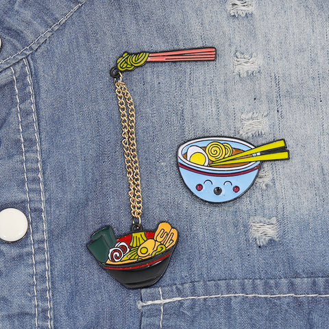 CARTOON RAMEN NOODLE BROOCH (SET/2PCS)