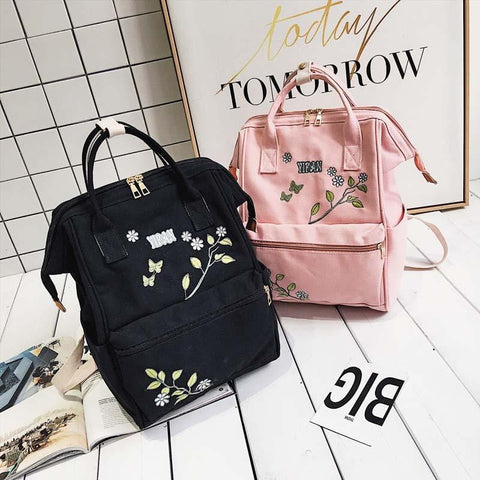 FLOWER EMBROIDERED BACKPACK