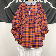 RED PLAID DENIM COLLAR SHIRT COAT