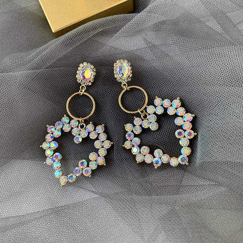 RHINESTONE FAUX PEARL HEART EARRINGS