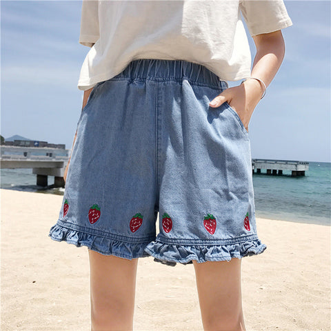 STRAWBERRY DENIM SHORTS