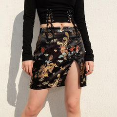 DRAGON EMBROIDERED SPLIT SKIRT