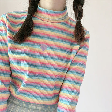 RAINBOW HEART EMBROIDERED TURTLENECK TOP