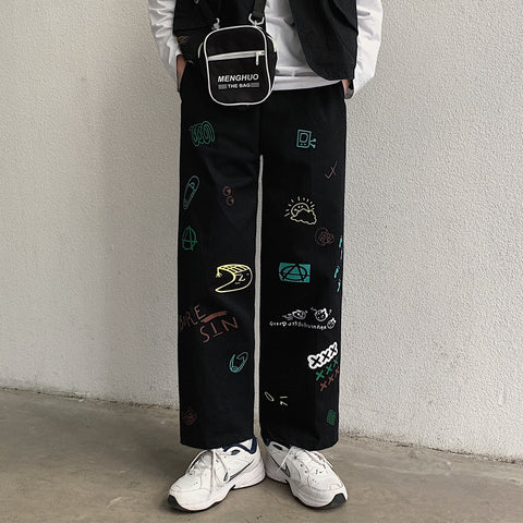 KOREAN GRAFFITI CASUAL STRAIGHT PANTS