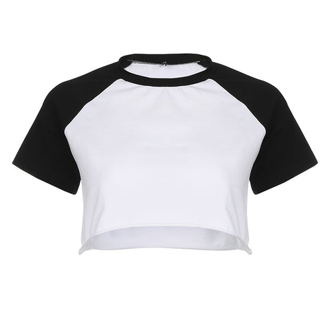BLACK RAGLAN CROP TOP