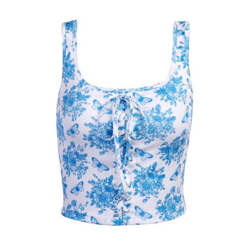 BUTTERFLY FLOWER CORSET CROP VEST