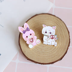 SPARKLY BUNNY AND KITTY PINS
