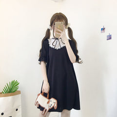 LOLITA STITCHING LACE UP MIDI DRESS