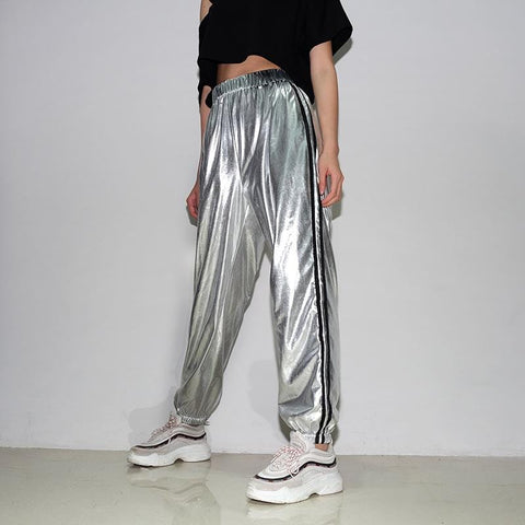 SHINY STRIPED PANTS
