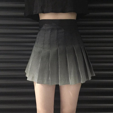 BLACK GRADIENT PLEATED SKIRT