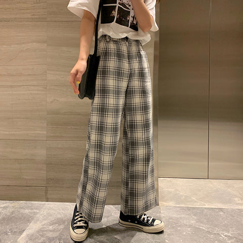 GRAY PLAID WIDE LEG PANTS