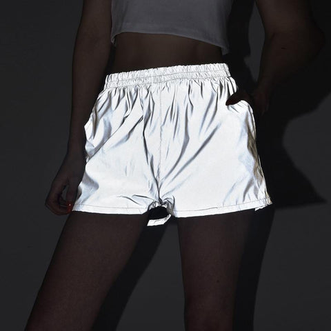 REFLECTIVE HIGH WAIST SHORTS