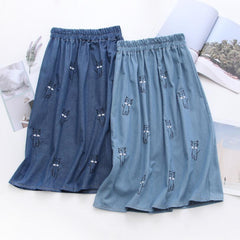 CUTE CAT EMBROIDERY LOOSE DENIM SKIRT