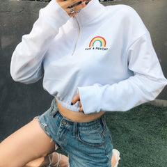 CUTE AND PSYCHO RAINBOW EMBROIDERED CROP TOP