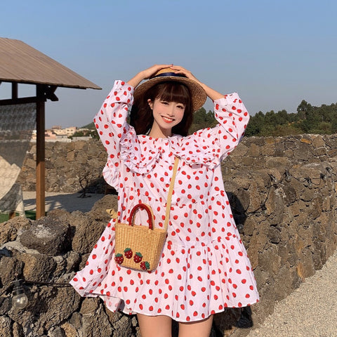 STRAWBERRY DOLL COLLAR RUFFLED LOOSE DRESS